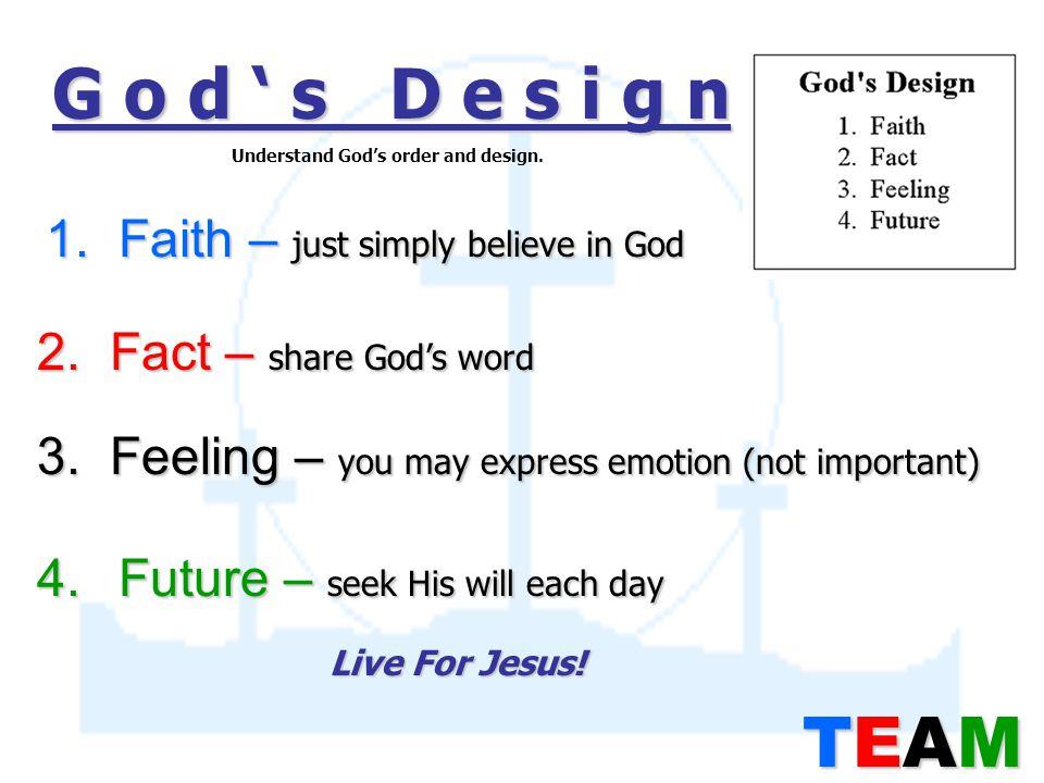 G o d ' s D e s i g n 1. Faith – just simply believe in God 2.