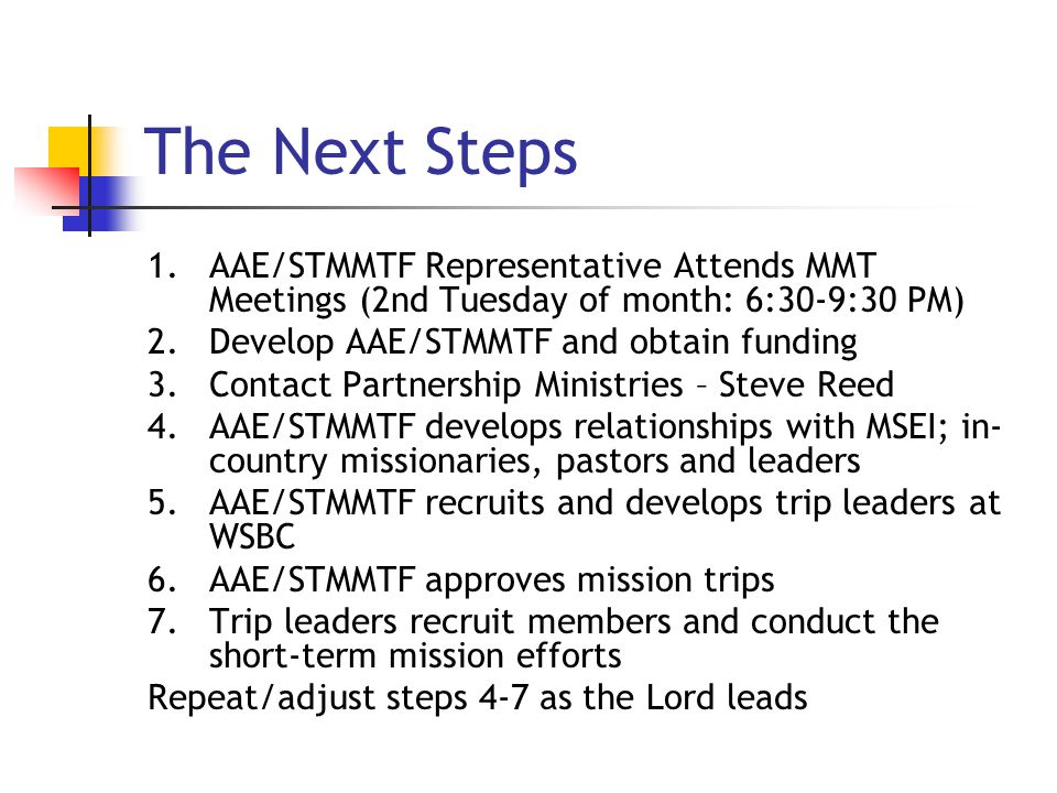 The Next Steps 1.AAE/STMMTF Representative Attends MMT Meetings (2nd Tuesday of month: 6:30-9:30 PM) 2.Develop AAE/STMMTF and obtain funding 3.Contact Partnership Ministries – Steve Reed 4.AAE/STMMTF develops relationships with MSEI; in- country missionaries, pastors and leaders 5.AAE/STMMTF recruits and develops trip leaders at WSBC 6.AAE/STMMTF approves mission trips 7.Trip leaders recruit members and conduct the short-term mission efforts Repeat/adjust steps 4-7 as the Lord leads