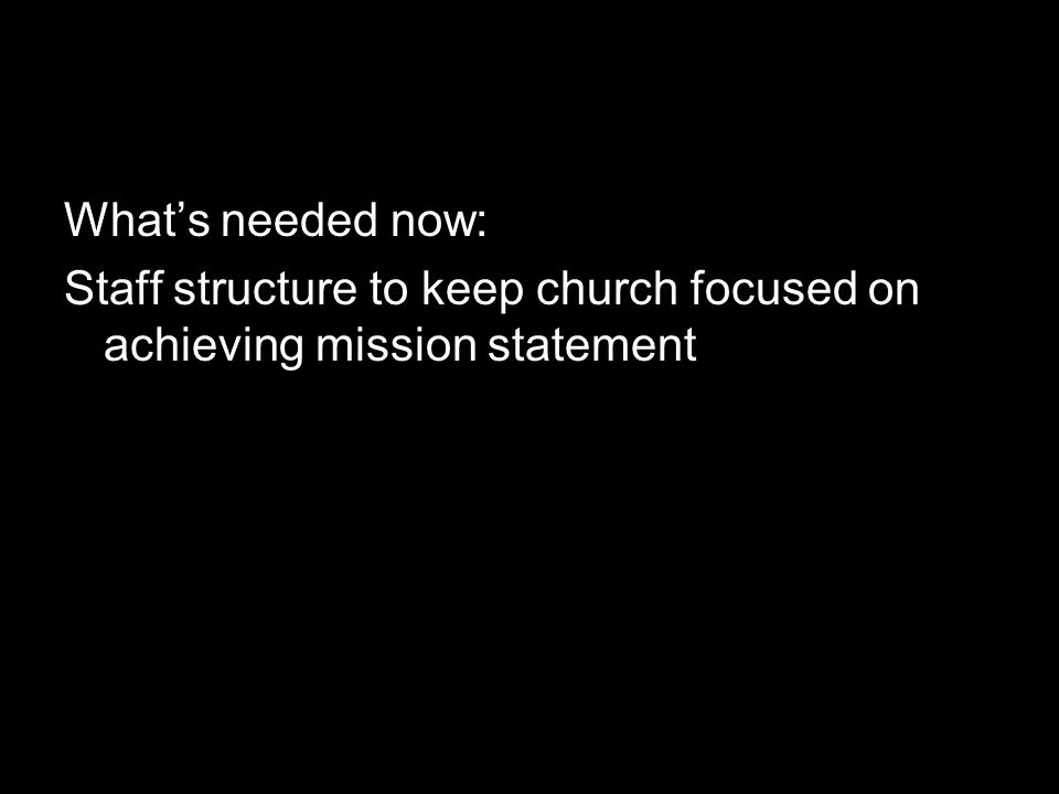 What's needed now: Staff structure to keep church focused on achieving mission statement