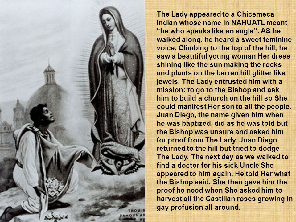 The Lady appeared to a Chicemeca Indian whose name in NAHUATL meant he who speaks like an eagle .