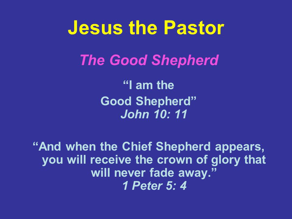 Jesus the Pastor The Good Shepherd I am the Good Shepherd John 10: 11 And when the Chief Shepherd appears, you will receive the crown of glory that will never fade away. 1 Peter 5: 4