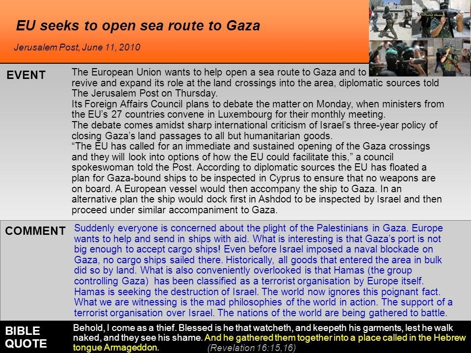 EU seeks to open sea route to Gaza The European Union wants to help open a sea route to Gaza and to revive and expand its role at the land crossings into the area, diplomatic sources told The Jerusalem Post on Thursday.