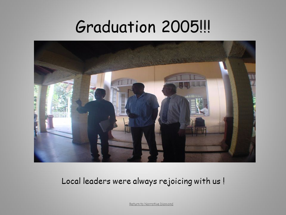 Graduation 2005!!! Local leaders were always rejoicing with us ! Return to Narrative Diamond