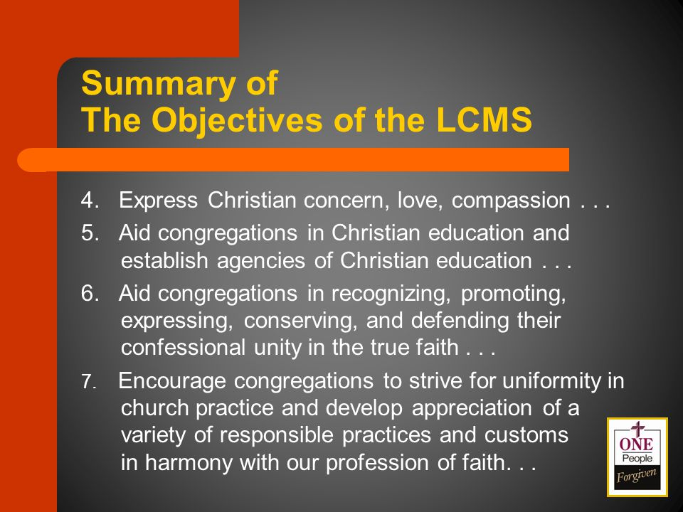 4. Express Christian concern, love, compassion...