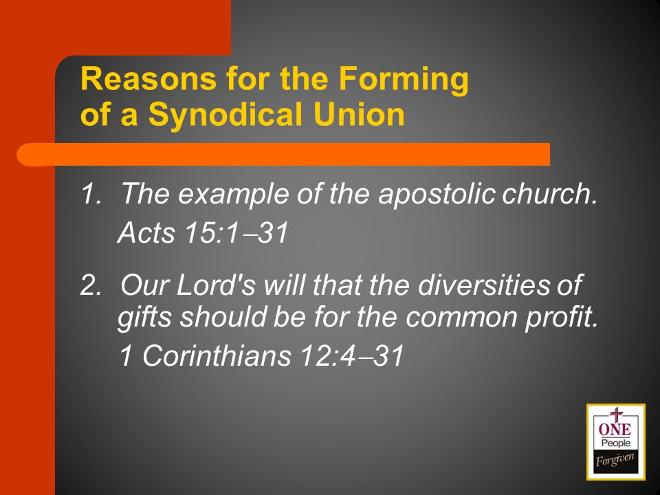 Purposes of National Convention Only a national convention of the Synod shall authorize affiliation or association of the Synod with other church bodies, synods, or federations, and the discontinuance of such affiliation or association. (LCMS Bylaw 3.1.1)