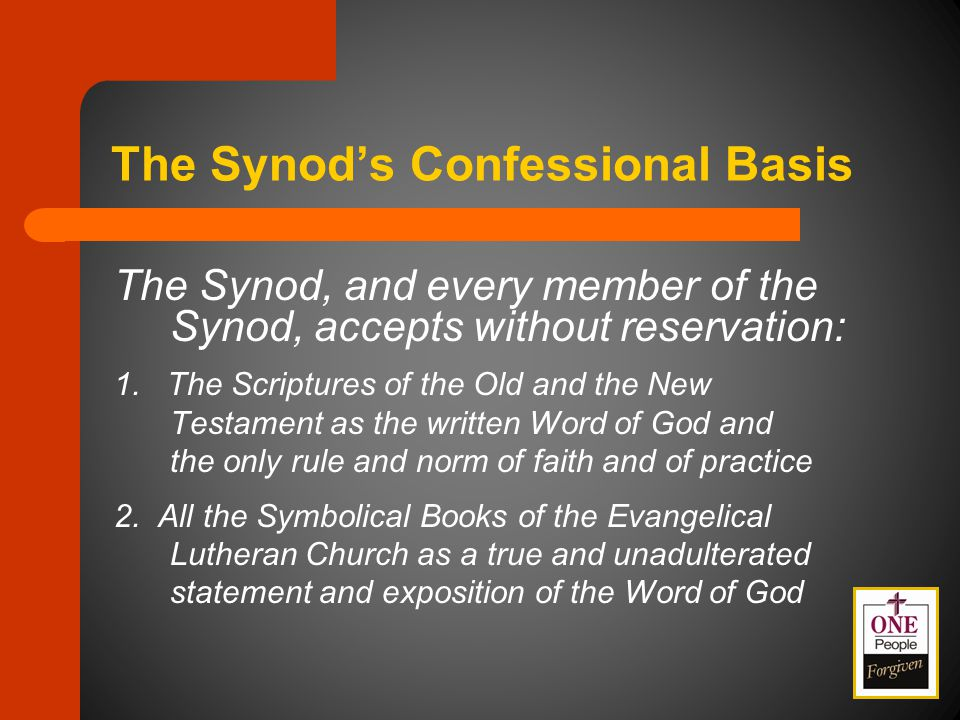 The Lutheran Confessions Apostles', Nicene, Athanasian Creeds Unaltered Augsburg Confession Apology of Augsburg Confession Smalcald Articles Treatise on Power and Primacy of Pope Luther's Large Catechism Luther's Small Catechism Formula of Concord