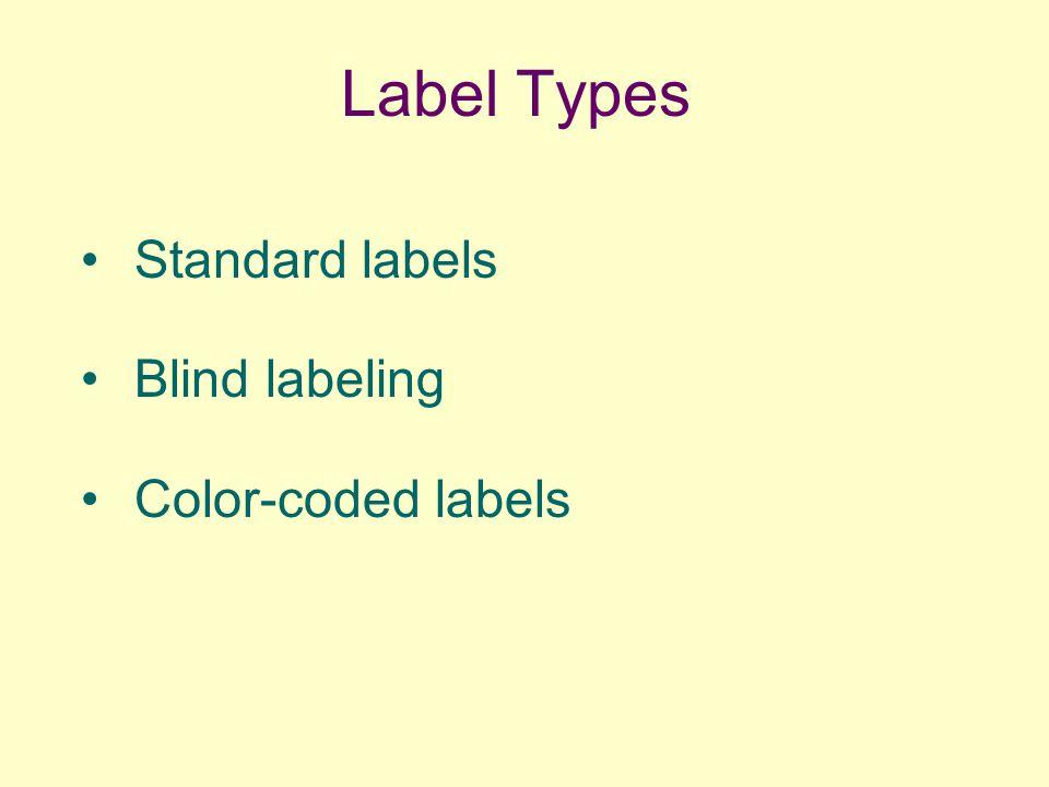Label Types Standard labels Blind labeling Color-coded labels