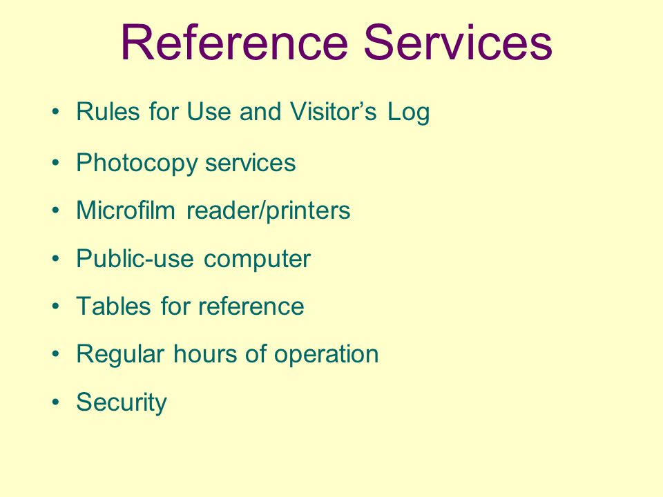 Reference Services Rules for Use and Visitor's Log Photocopy services Microfilm reader/printers Public-use computer Tables for reference Regular hours of operation Security