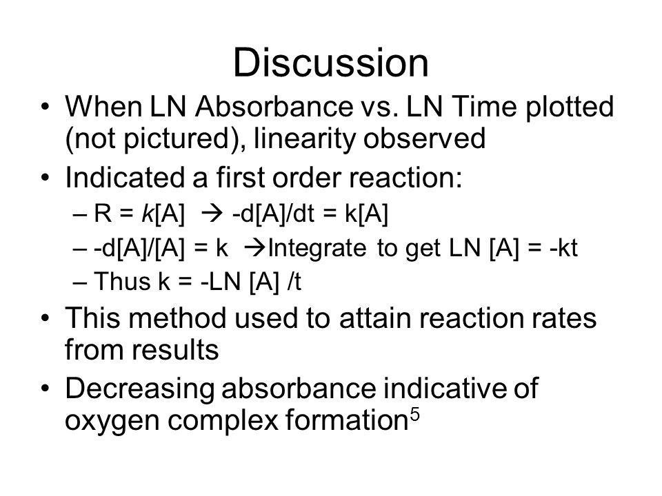 Discussion When LN Absorbance vs. LN Time plotted (not pictured), linearity observed Indicated a first order reaction: –R = k[A]  -d[A]/dt = k[A] –-d