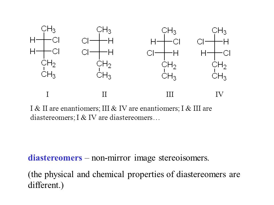 diastereomers – non-mirror image stereoisomers. (the physical and chemical properties of diastereomers are different.) I II III IV I & II are enantiom