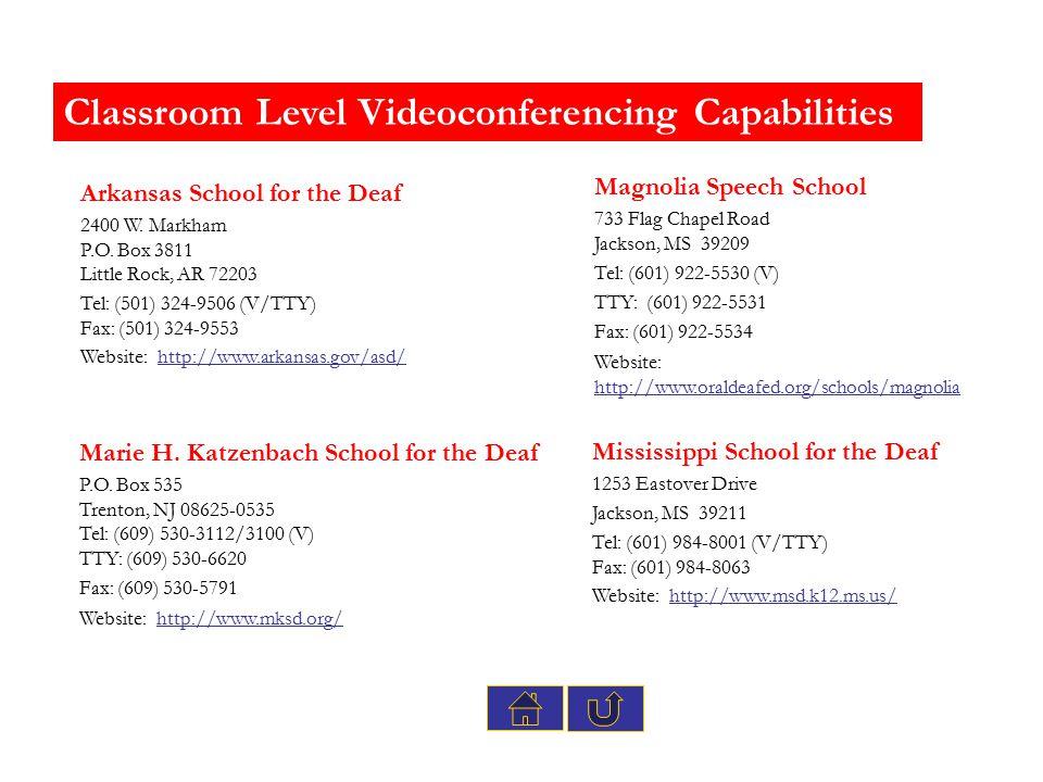Classroom Level Videoconferencing Capabilities Marie H. Katzenbach School for the Deaf P.O. Box 535 Trenton, NJ 08625-0535 Tel: (609) 530-3112/3100 (V