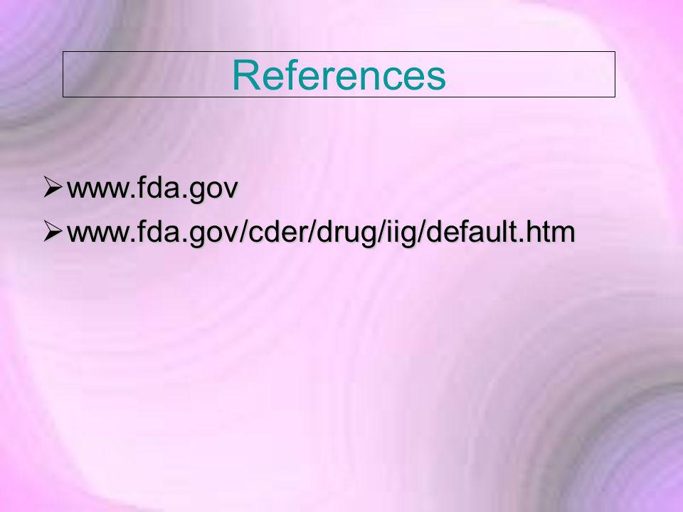 References  www.fda.gov  www.fda.gov/cder/drug/iig/default.htm