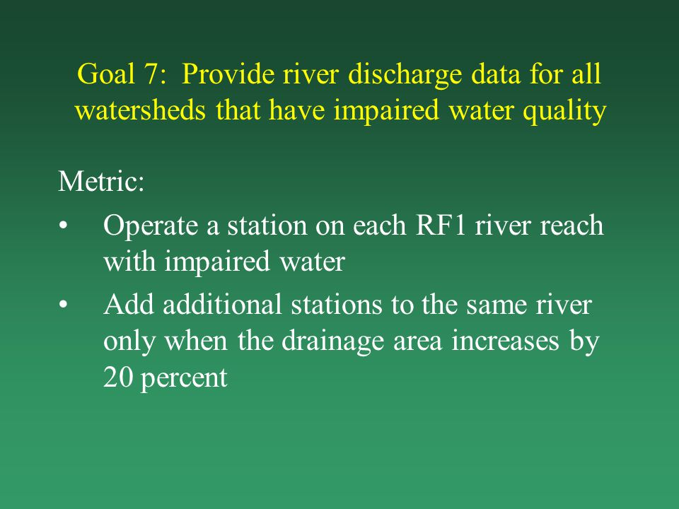 Goal 7: Provide river discharge data for all watersheds that have impaired water quality Metric: Operate a station on each RF1 river reach with impair