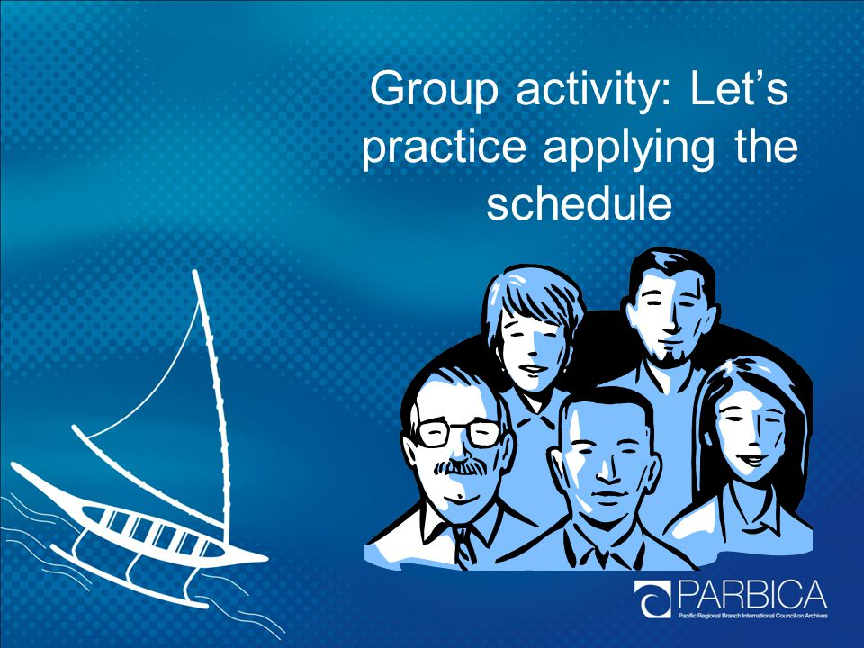 Group activity: Let's practice applying the schedule