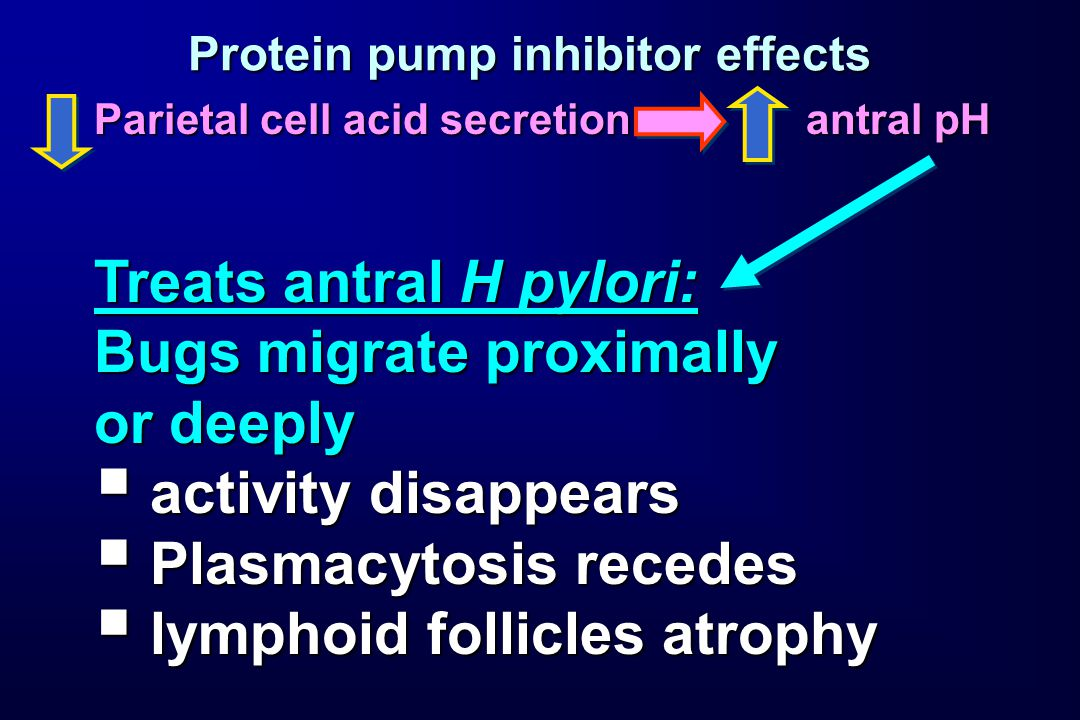 Protein pump inhibitor effects Parietal cell acid secretion antral pH Treats antral H pylori: Bugs migrate proximally or deeply  activity disappears  Plasmacytosis recedes  lymphoid follicles atrophy