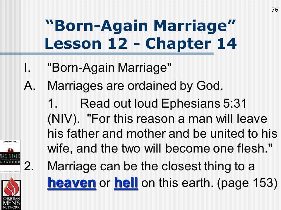 76 Born-Again Marriage Lesson 12 - Chapter 14 I. Born-Again Marriage A.Marriages are ordained by God.