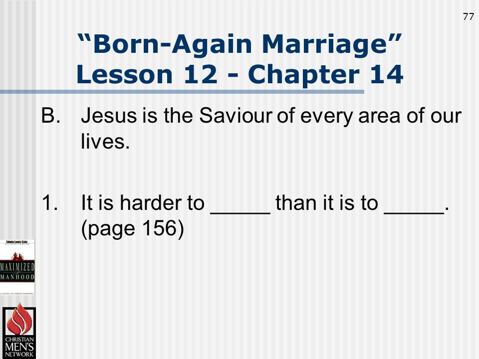 77 Born-Again Marriage Lesson 12 - Chapter 14 B.Jesus is the Saviour of every area of our lives.