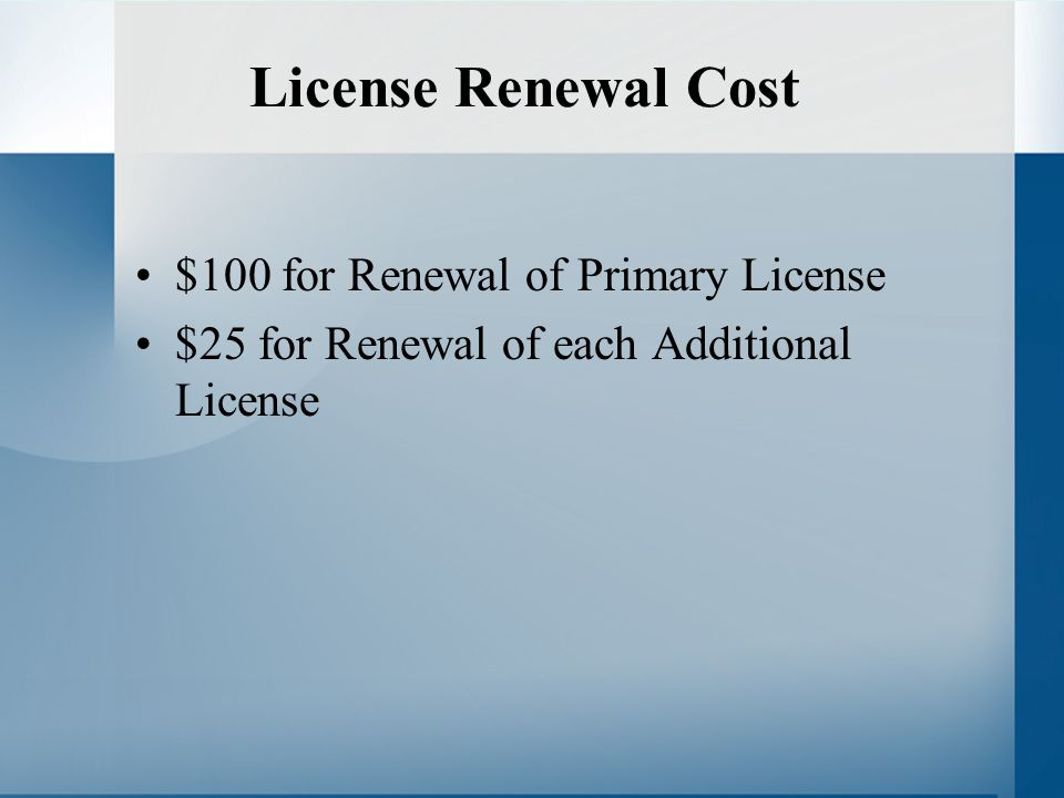 License Renewal Cost $100 for Renewal of Primary License $25 for Renewal of each Additional License