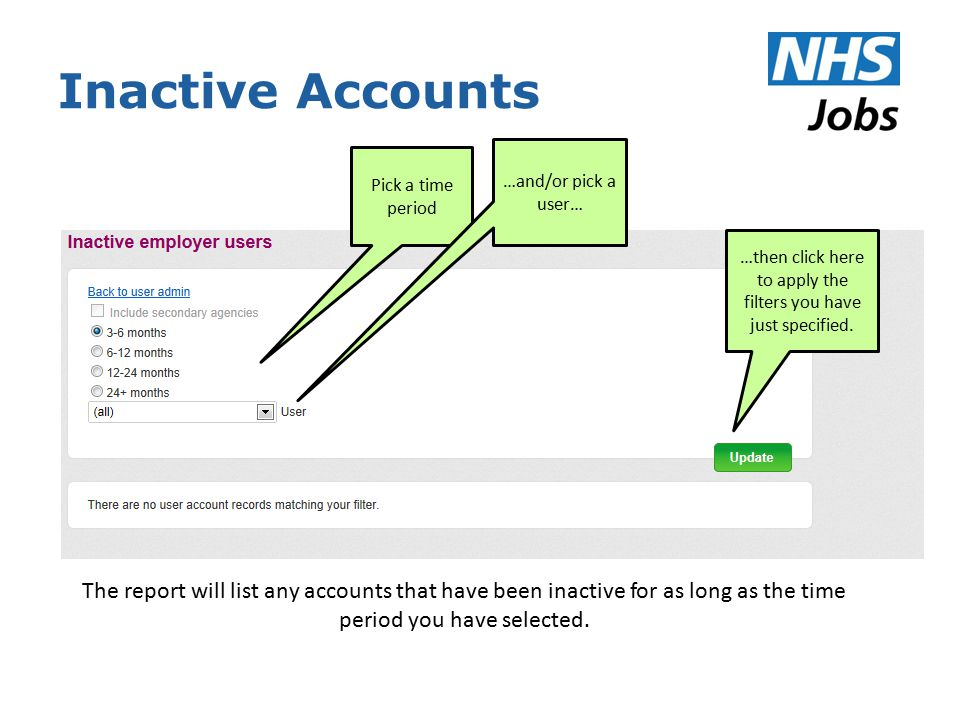 Inactive Accounts Pick a time period …and/or pick a user… …then click here to apply the filters you have just specified.