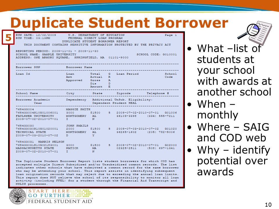 Duplicate Student Borrower What –list of students at your school with awards at another school When – monthly Where – SAIG and COD web Why – identify potential over awards 5 10