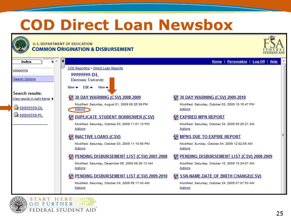 99999999-DL Electronic University COD Direct Loan Newsbox 25