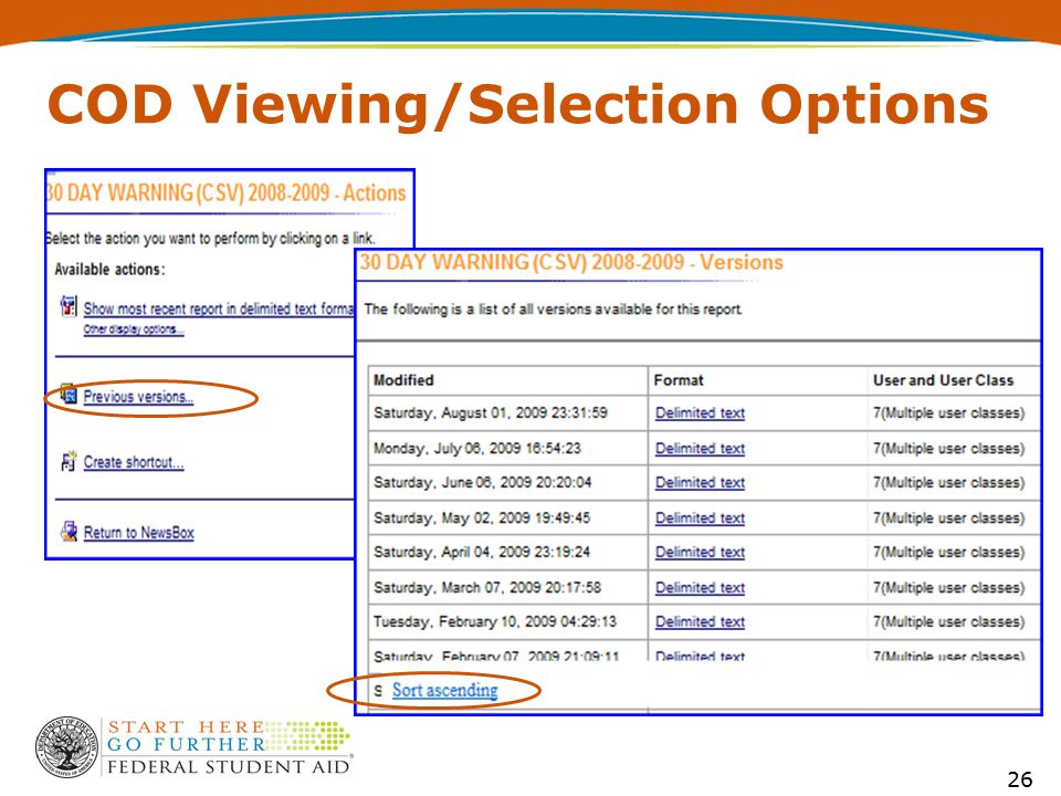 COD Viewing/Selection Options 26