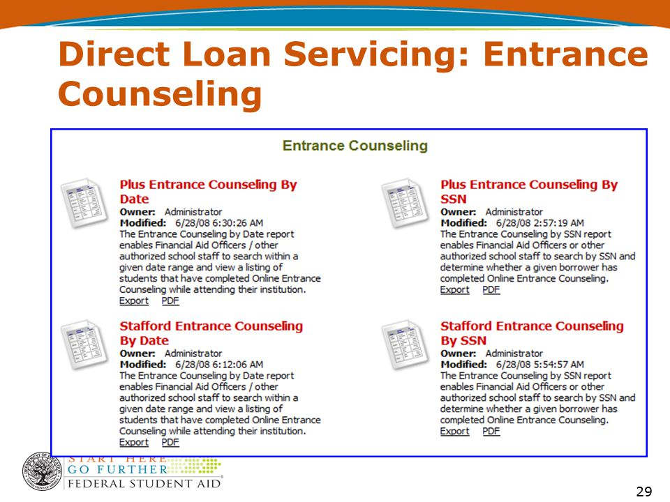 Direct Loan Servicing: Entrance Counseling 29