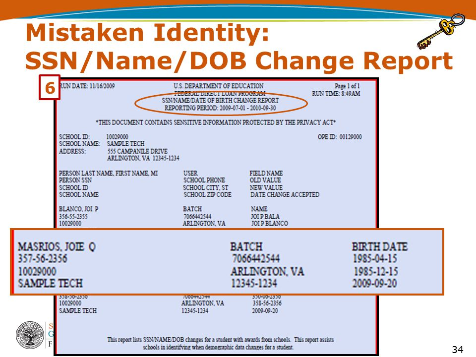 Mistaken Identity: SSN/Name/DOB Change Report 34 6