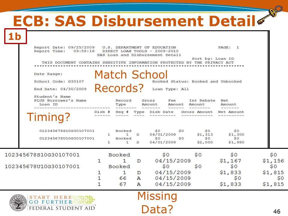 ECB: SAS Disbursement Detail Match School Records? Missing Data? Timing? 46 1b