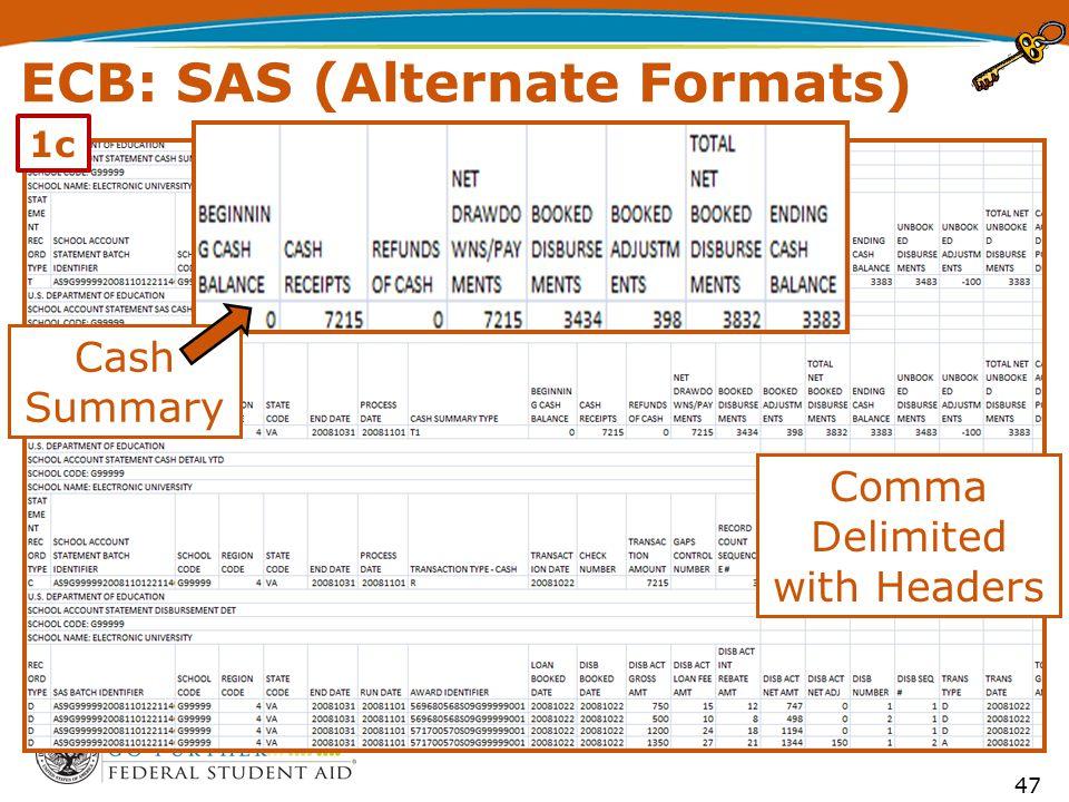 ECB: SAS (Alternate Formats) Comma Delimited with Headers Cash Summary 47 1c
