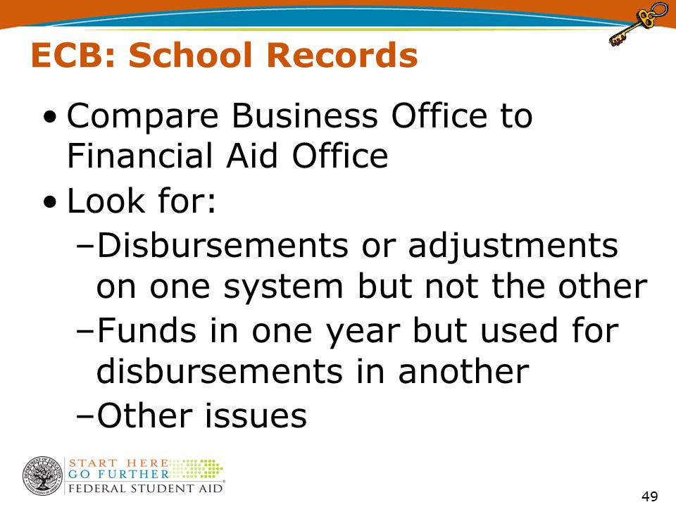 ECB: School Records Compare Business Office to Financial Aid Office Look for: –Disbursements or adjustments on one system but not the other –Funds in