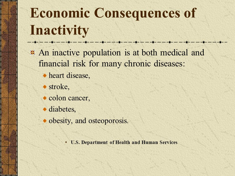 Economic Consequences of Inactivity An inactive population is at both medical and financial risk for many chronic diseases: heart disease, stroke, colon cancer, diabetes, obesity, and osteoporosis.