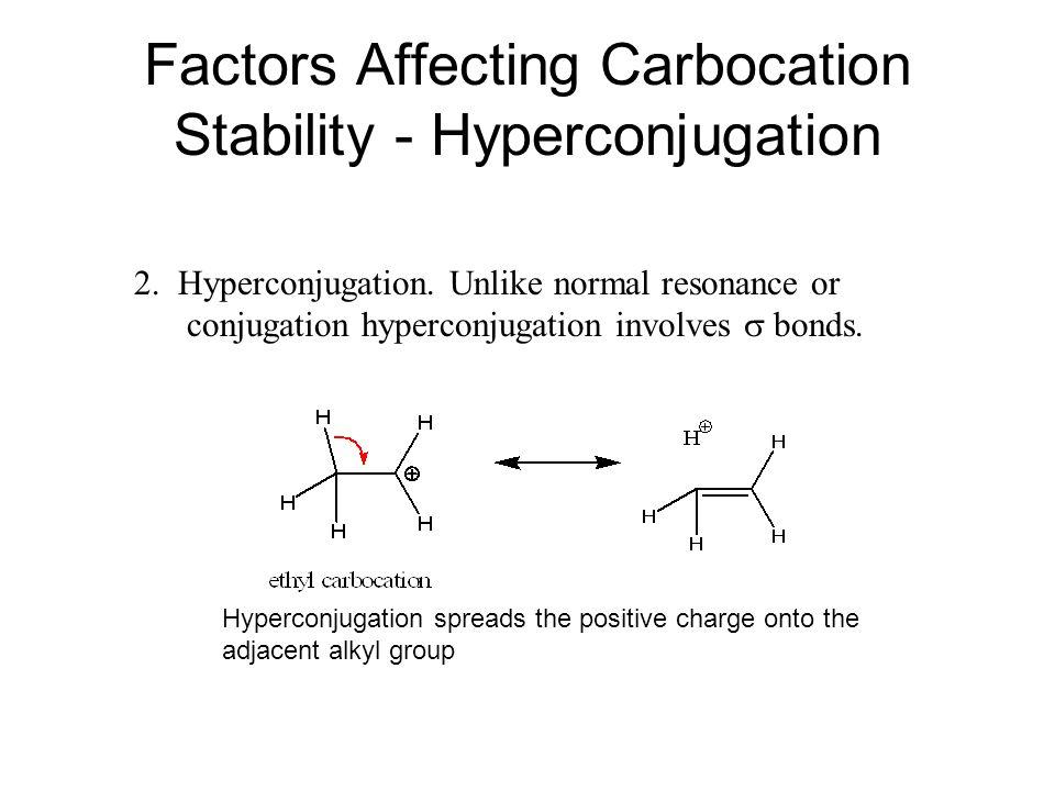 Factors Affecting Carbocation Stability - Hyperconjugation 2. Hyperconjugation. Unlike normal resonance or conjugation hyperconjugation involves  bon