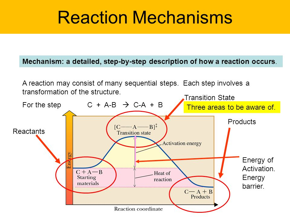 Reaction Mechanisms Mechanism: a detailed, step-by-step description of how a reaction occurs.