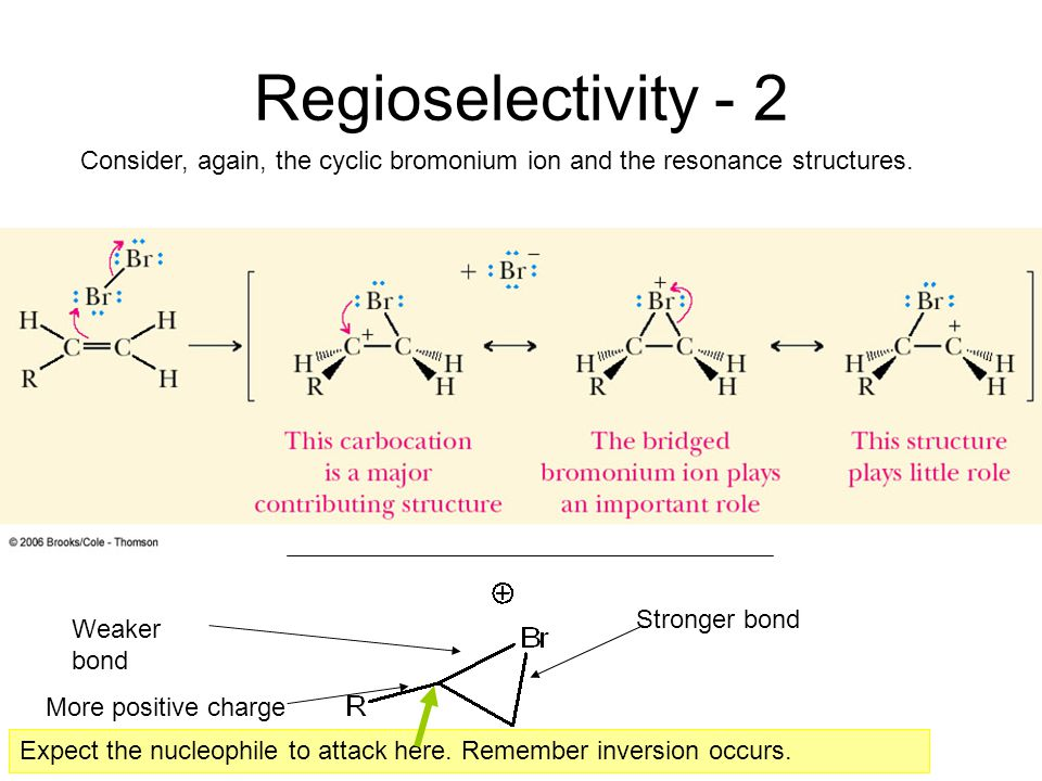 Regioselectivity - 2 Consider, again, the cyclic bromonium ion and the resonance structures. Weaker bond More positive charge Stronger bond Expect the