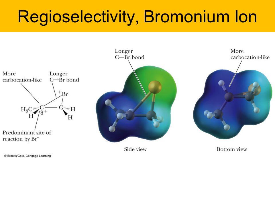 Regioselectivity, Bromonium Ion –Bridged bromonium ion from propene.