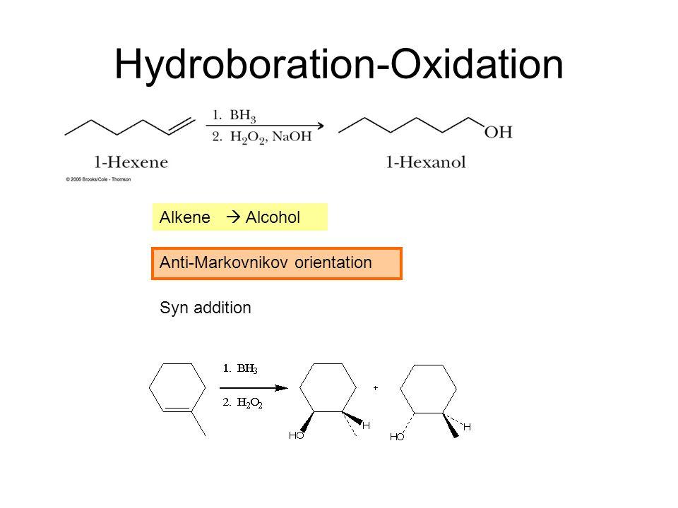 Hydroboration-Oxidation Alkene  Alcohol Anti-Markovnikov orientation Syn addition