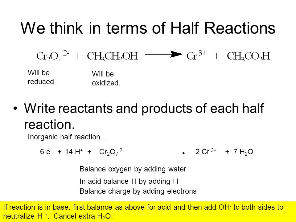 We think in terms of Half Reactions Write reactants and products of each half reaction.