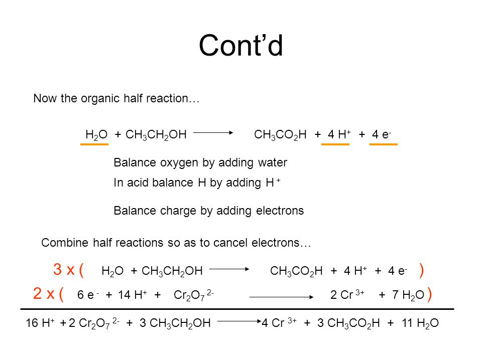 Cont'd Now the organic half reaction… Balance oxygen by adding water In acid balance H by adding H + Balance charge by adding electrons CH 3 CH 2 OHCH 3 CO 2 HH 2 O ++ 4 H + + 4 e - Combine half reactions so as to cancel electrons… CH 3 CH 2 OHCH 3 CO 2 HH 2 O ++ 4 H + + 4 e - Cr 2 O 7 2- 2 Cr 3+ + 7 H 2 O14 H + +6 e - + 3 x () 16 H + + 2 Cr 2 O 7 2- + 3 CH 3 CH 2 OH 4 Cr 3+ + 3 CH 3 CO 2 H + 11 H 2 O 2 x ()