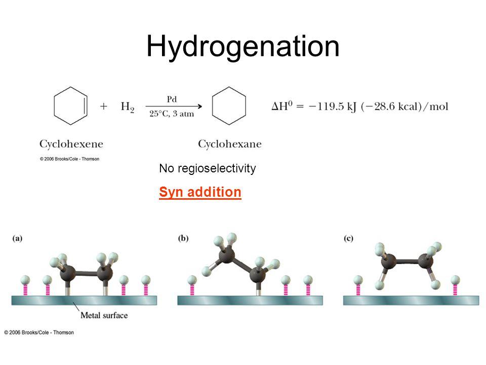 Hydrogenation No regioselectivity Syn addition