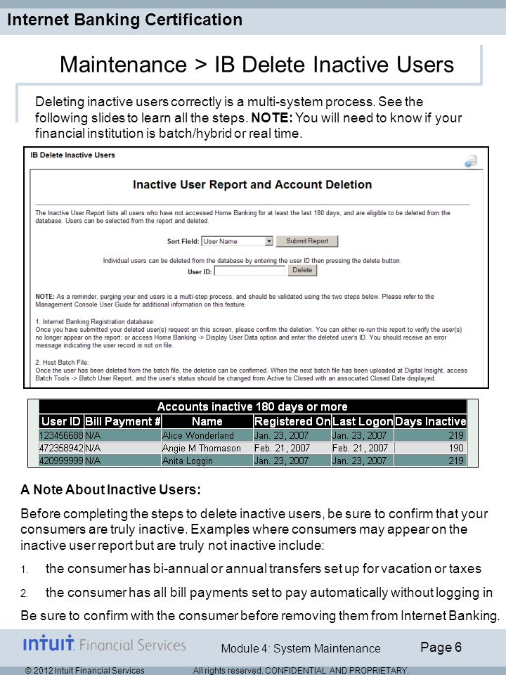 Internet Banking Certification Page 6 Module 4: System Maintenance © 2012 Intuit Financial Services All rights reserved.