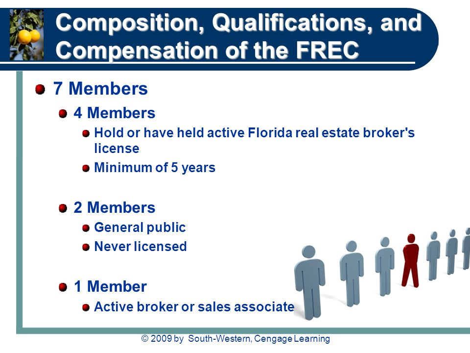 © 2009 by South-Western, Cengage Learning Composition, Qualifications, and Compensation of the FREC 7 Members 4 Members Hold or have held active Flori