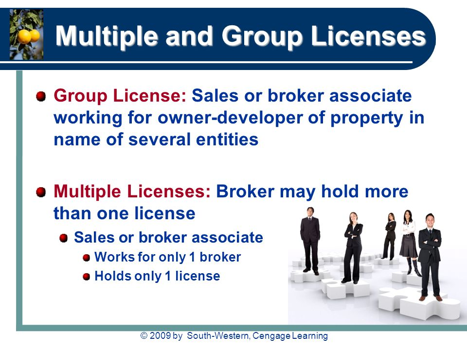 © 2009 by South-Western, Cengage Learning Multiple and Group Licenses Group License: Sales or broker associate working for owner-developer of property in name of several entities Multiple Licenses: Broker may hold more than one license Sales or broker associate Works for only 1 broker Holds only 1 license