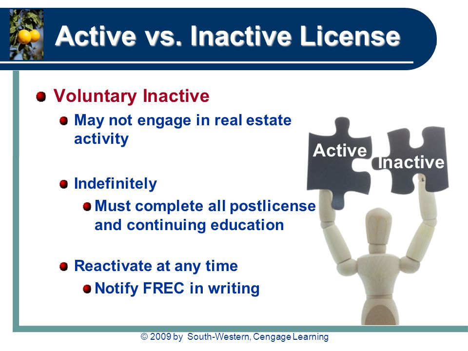 © 2009 by South-Western, Cengage Learning Active vs. Inactive License Voluntary Inactive May not engage in real estate activity Indefinitely Must comp
