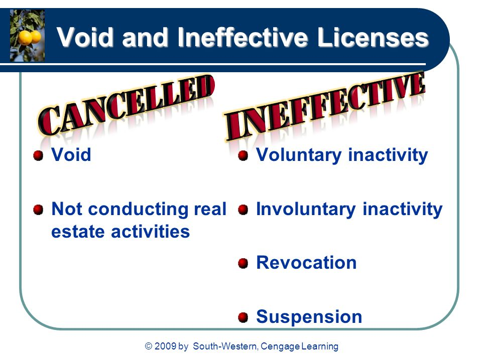 © 2009 by South-Western, Cengage Learning Void and Ineffective Licenses Void Not conducting real estate activities Voluntary inactivity Involuntary inactivity Revocation Suspension