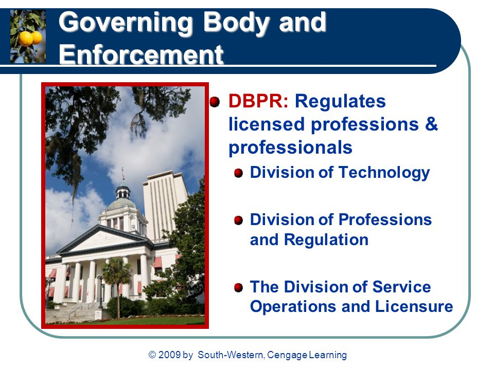 © 2009 by South-Western, Cengage Learning Governing Body and Enforcement DBPR: Regulates licensed professions & professionals Division of Technology D