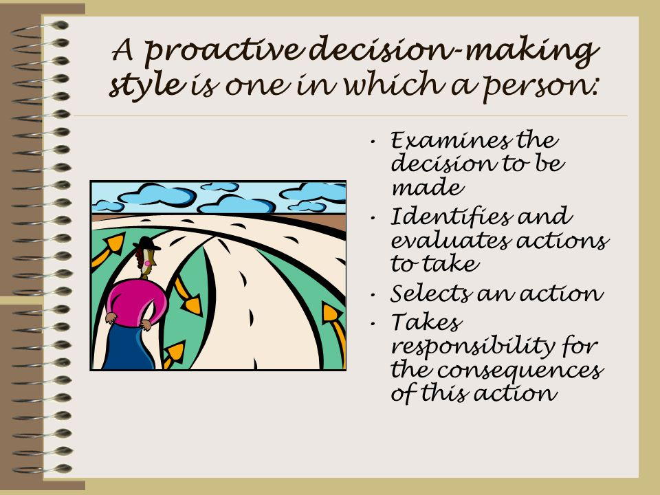 A proactive decision-making style is one in which a person: Examines the decision to be made Identifies and evaluates actions to take Selects an actio