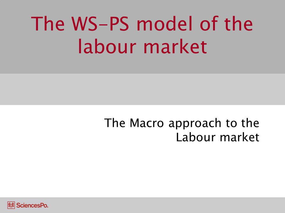 The WS-PS model of the labour market The Macro approach to the Labour market
