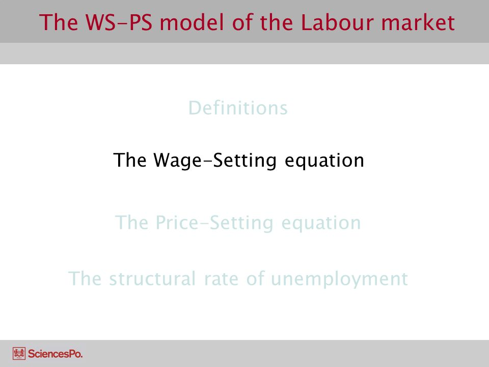 The WS-PS model of the Labour market Definitions The Wage-Setting equation The structural rate of unemployment The Price-Setting equation