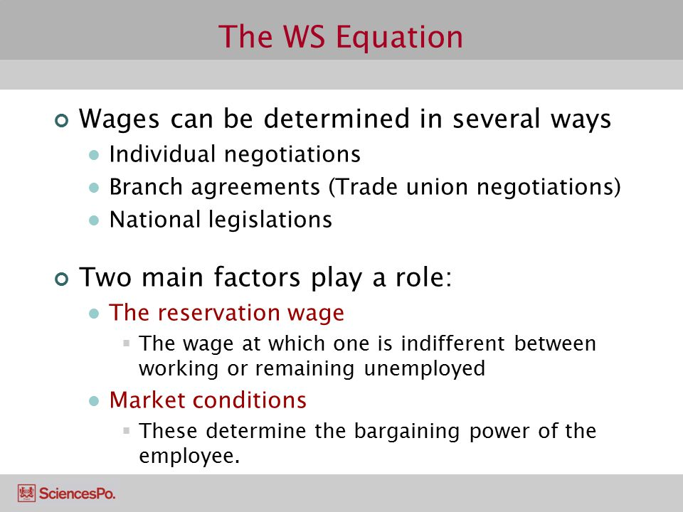 The WS Equation Wages can be determined in several ways Individual negotiations Branch agreements (Trade union negotiations) National legislations Two